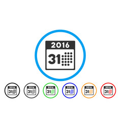 Last 2016 month day rounded icon vector