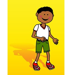 Little black boy over yellow vector