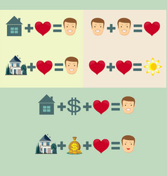 Love home and money concept - equal happiness vector