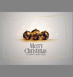 lovely christmas balls with golden sparkles vector image