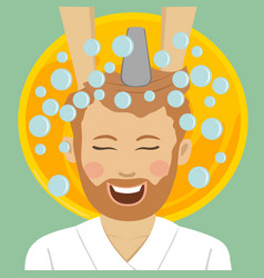man in barbers getting washed hair with shampoo vector image vector image