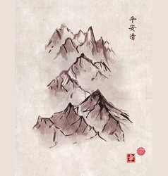 Mountain range in fog hand drawn with ink vector
