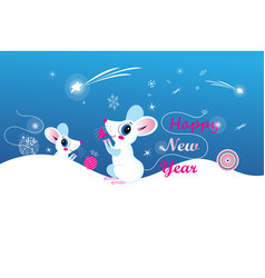 new year greeting card with fun holiday mouse vector image