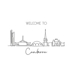 one single line drawing canberra city skyline vector image