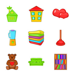 Orphan house icons set cartoon style vector