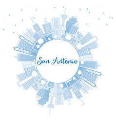 Outline san antonio skyline with blue buildings vector