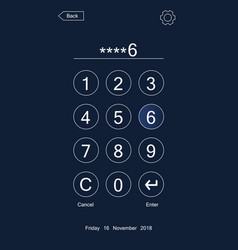 Passcode interface for lock screen vector