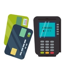 POS terminal with inserted credit card and print vector image