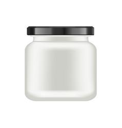 realistic white matt glass matt jar with black lid vector image