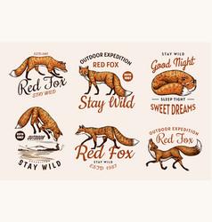 Red fox badges set forest ginger wild animal vector
