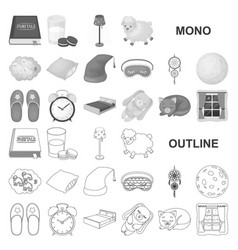 Rest and sleep monochrom icons in set collection vector
