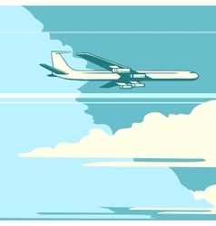 retro airplane in sky vector image