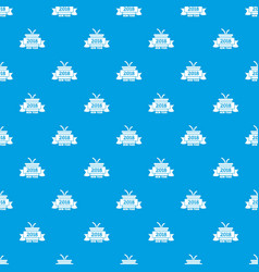 retro christmas gift pattern seamless blue vector image