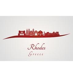 Rhodes skyline in red vector