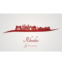 Rhodes skyline in red vector image