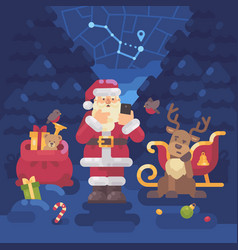 Santa claus and his reindeer lost their way in vector