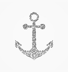 sea anchor from decorative ornate ornaments and vector image