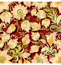 seamless lighten floral ornament on red background vector image