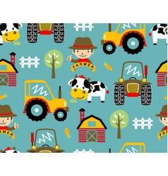 Seamless pattern with farmyard theme cartoon vector