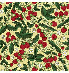 Seamless texture with strawbery and leaves vector