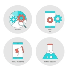 Seo outline flat icons vector image