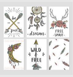 set boho style card templates with tribal vector image