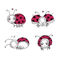 set ladybugs hand drawing isolated objects vector image