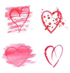 set watercolor hearts on white background vector image