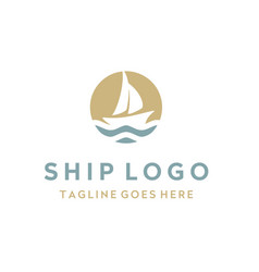 ship yacht dhow boat sail in ocean sea wave logo vector image