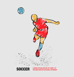 Soccer player heading ball silhouette vector