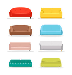 Sofa flat icon furniture interior couch vector
