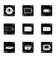Sports complex icons set grunge style vector