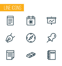 Stationery icons line style set with spiral vector