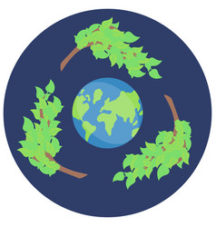 sticker recycling save green planet icon vector image