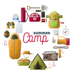 Summer camp posters of camping tools vector