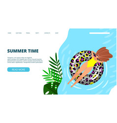 summer time landing page vector image