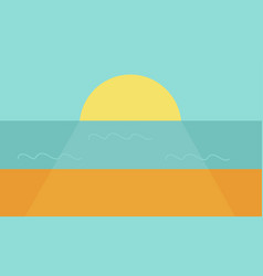 sunset on the sea or ocean the large crimson sun vector image