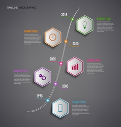 Time line info graphic with colorful hexagons vector image