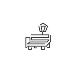 urban and city element icon - bench and lantern in vector image