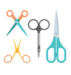 Various manicure and handle scissors flat set vector