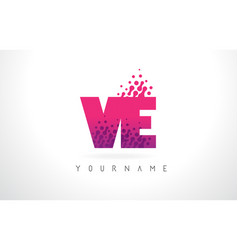 Ve v e letter logo with pink purple color and vector