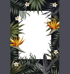 vertical poster night jungle frame banner flowers vector image