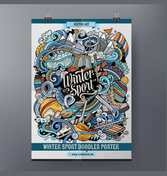 Winter sport doodles poster design ski resort vector