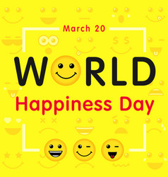 World happiness day line art emoticons yellow b vector