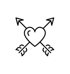 Arrow heart icon valentines symbol love sign vector