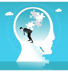 Man builds puzzle in human head Concept vector image