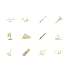 Wind instruments flat color icons vector image
