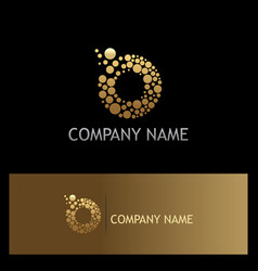 dot abstract letter o technology gold logo vector image