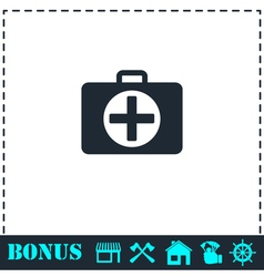 First aid kit icon flat vector image