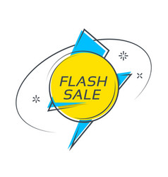 flat style flash shape banner price tag sale vector image